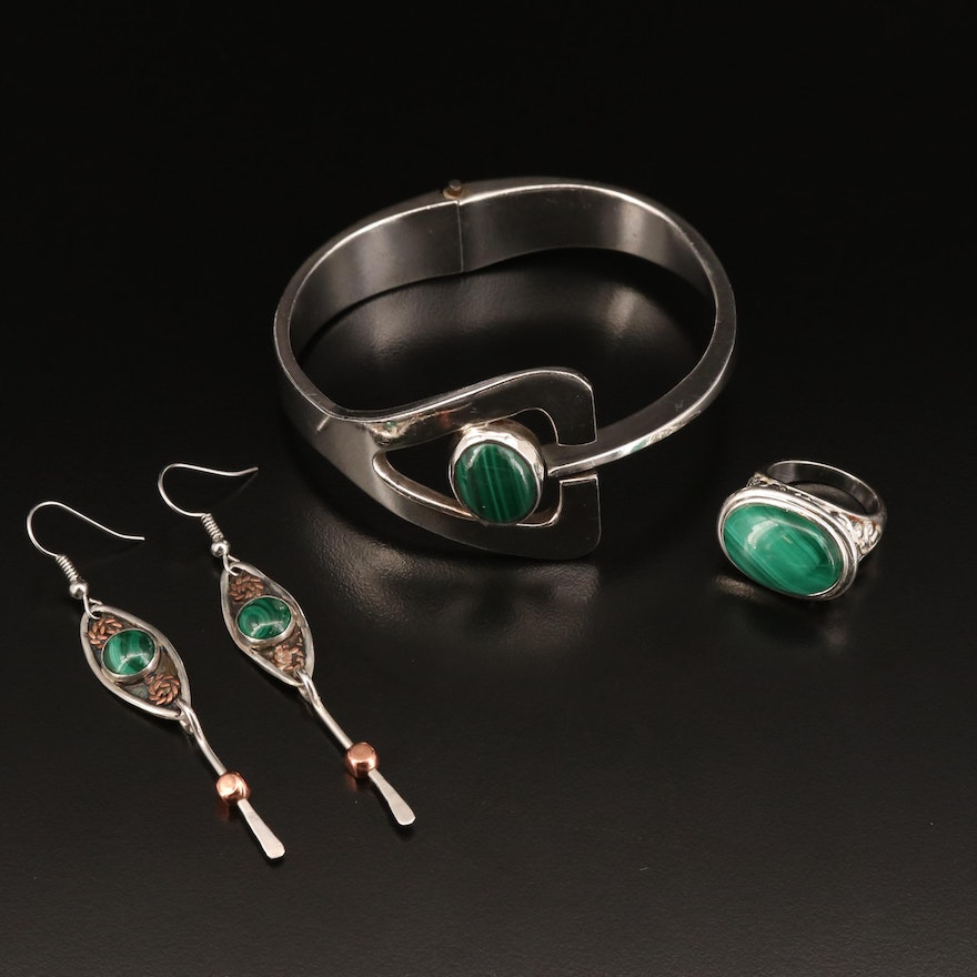 Selection of Sterling Malachite Jewelry