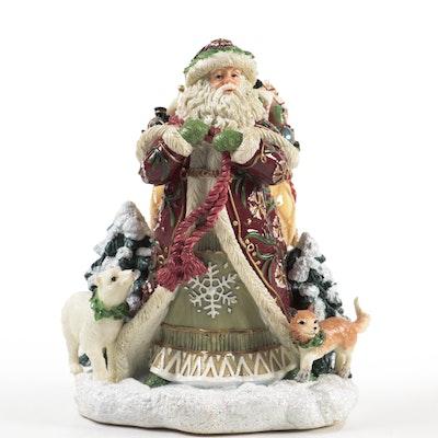 "Fitz and Floyd ""Winter Holiday Santa"" Ceramic Music Box"