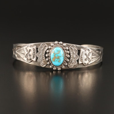 Western Style Sterling Silver Turquoise Cuff with Stampwork Details