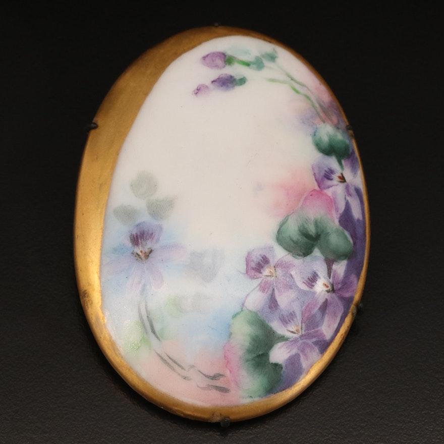 Antique Oval Porcelain Floral Brooch