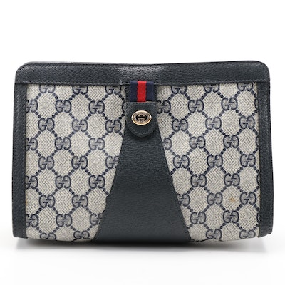 Gucci Accessory Collection Navy GG Coated Canvas and Leather Zip Clutch