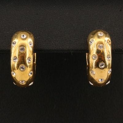 Italian Sterling Rhinestone Hoop Earrings