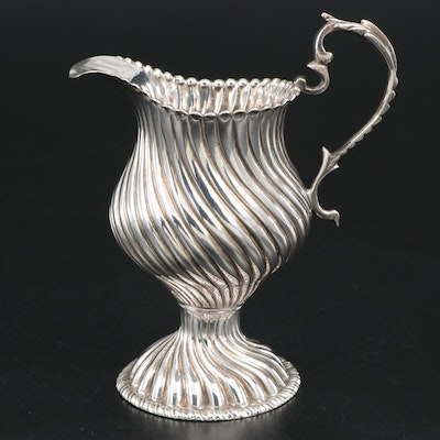 English Sterling Silver Swirl and Gadroon Creamer, 1768