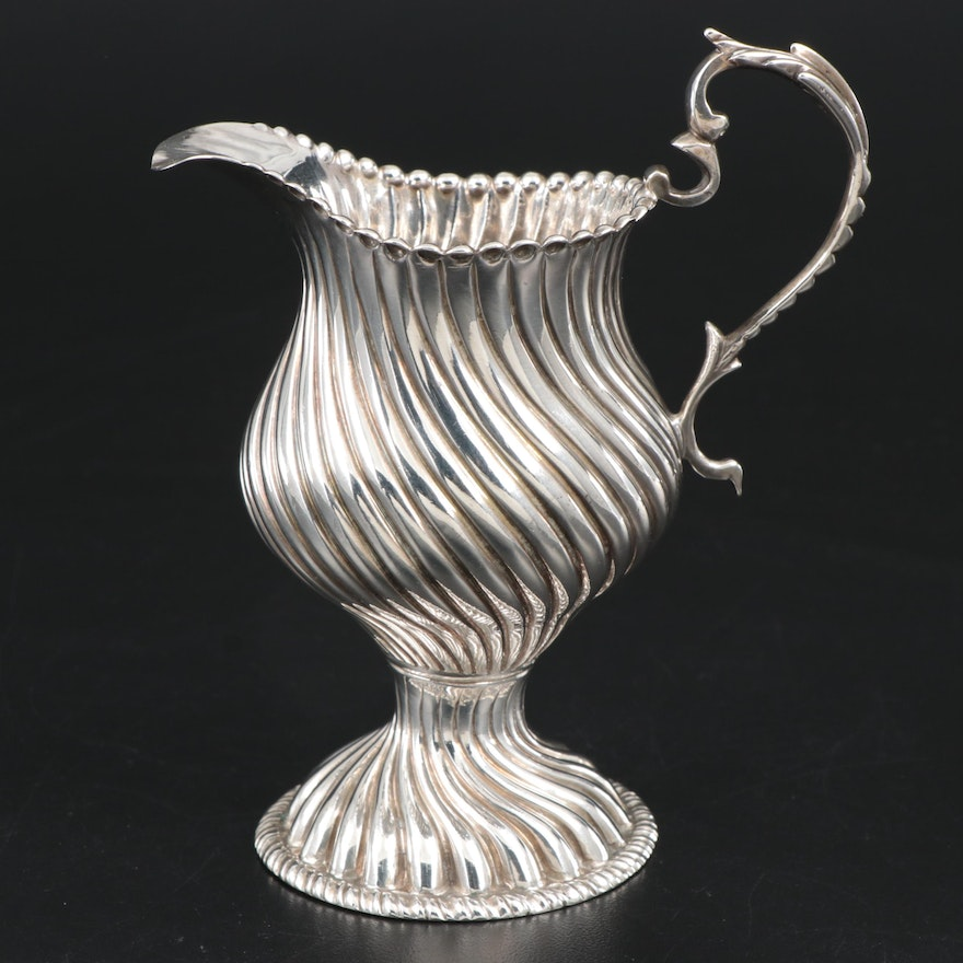 English Sterling Silver Wrythen and Gadroon Creamer, 1768