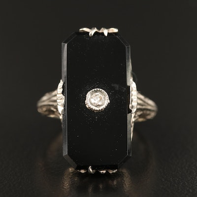 Edwardian 14K Onyx Tablet Ring with Diamond Accent
