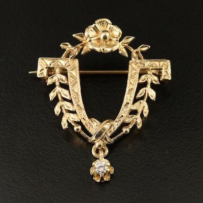 14K Diamond Foliate Brooch