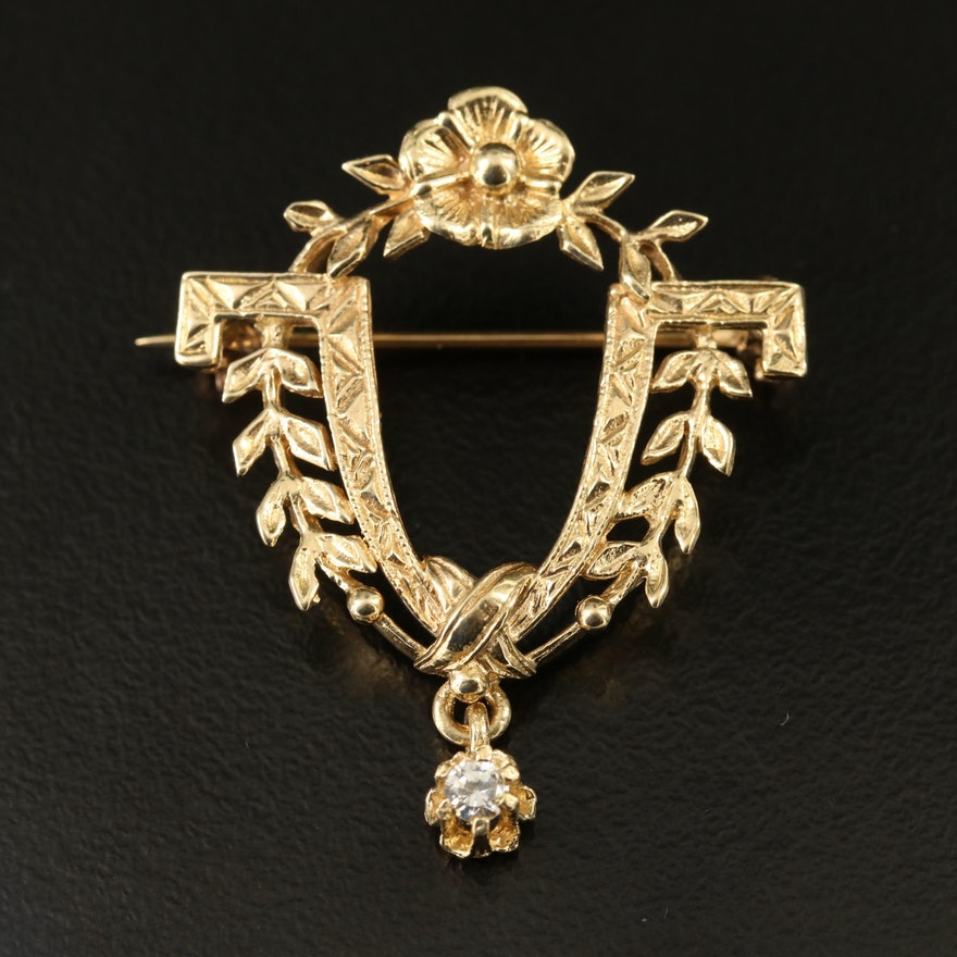 14K Diamond Foliate Brooch