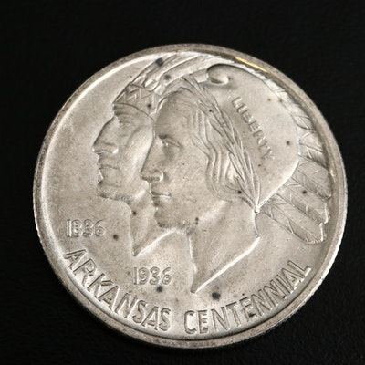 Low Mintage 1936 Arkansas Centennial Silver Half Dollar