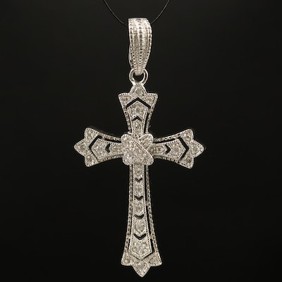 Sterling Diamond Cross Enhancer Pendant