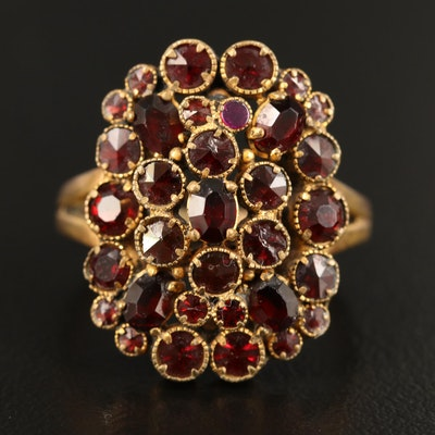 Vintage Glass, Garnet and Ruby Cluster Ring