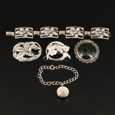 Vintage Sterling Silver Bracelets and Brooches with Obsidian and Glass Accents