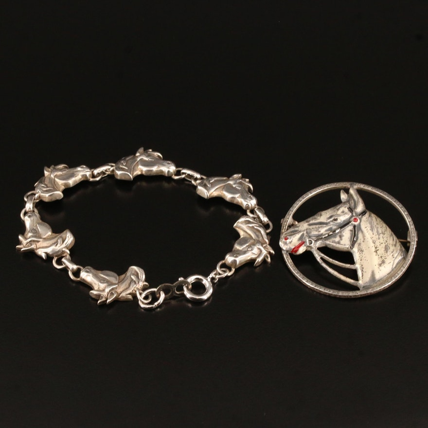 Vintage Sterling Horse Brooch and Bracelet