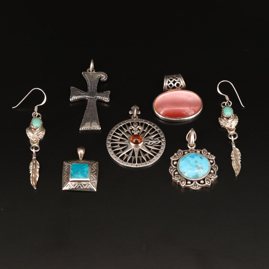 Sterling Pendants and Earrings Featuring Compass Rose and Cross Motif