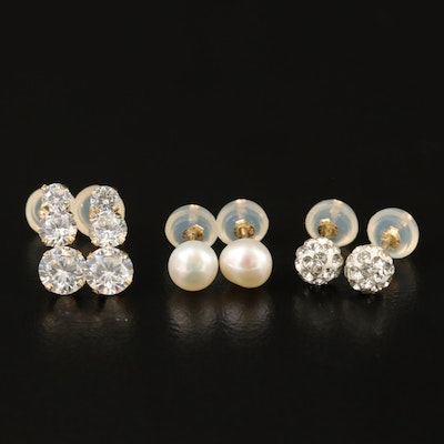 14K Clutch Back Earrings with Pearl, Rhinestone and Cubic Zirconia
