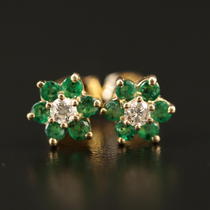 14K Diamond and Emerald Flower Stud Earrings