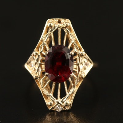 14K Garnet and Diamond Openwork Ring