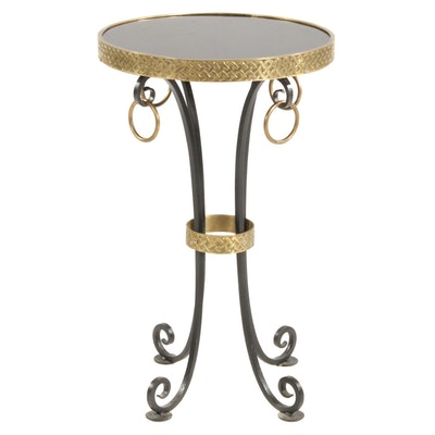 Neoclassical Style Marble Top Gilt Metal Accent Table, Late 20th Century