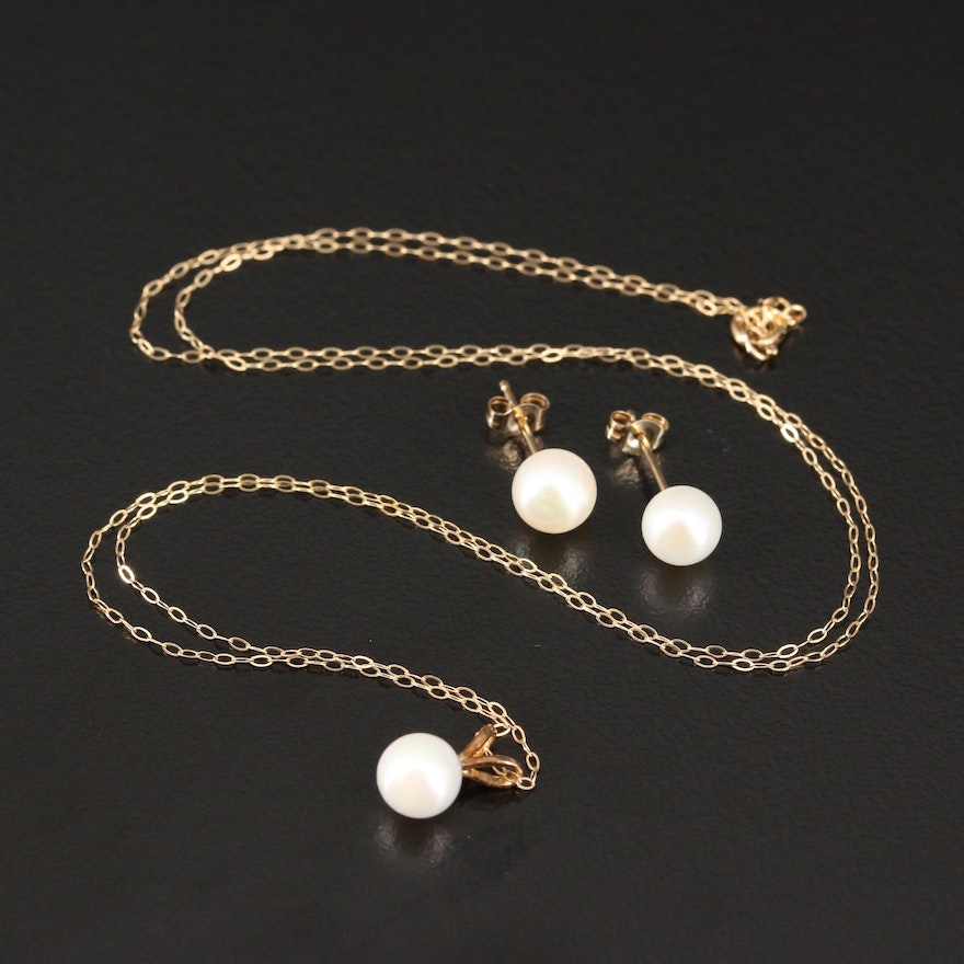 14K Pearl Necklace and Stud Earrings