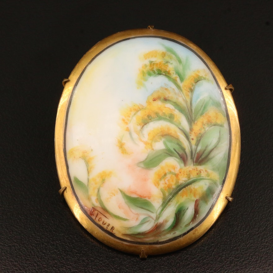 Signed Victorian Painted Goldenrod Porcelain Brooch