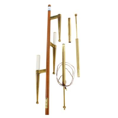 Stiffel  Mid Century Modern Wood And Brass Three Light Tension Pole Lamp