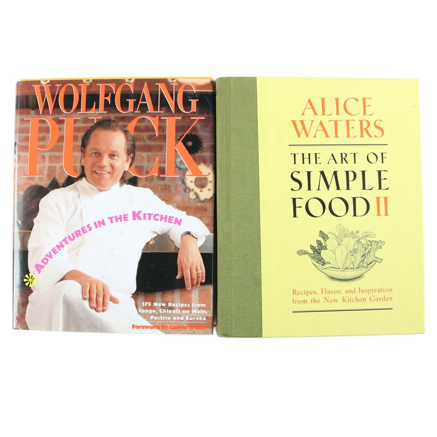 Wolfgang Puck and Alice Waters Signed Cookbooks Including First Edition