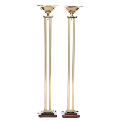 Rembrandt Lamp Co. Neoclassical Style Brass Floor Lamps, Late 20th Century