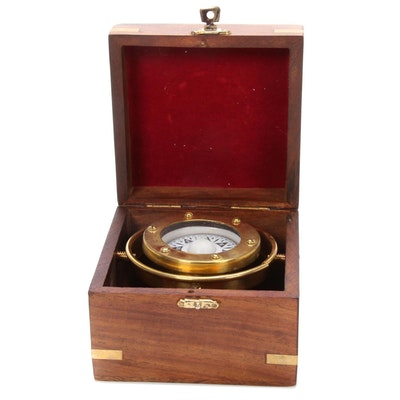 C. Plath Hamburg Brass and Wood Nautical Compass, Mid to Late 20th Century