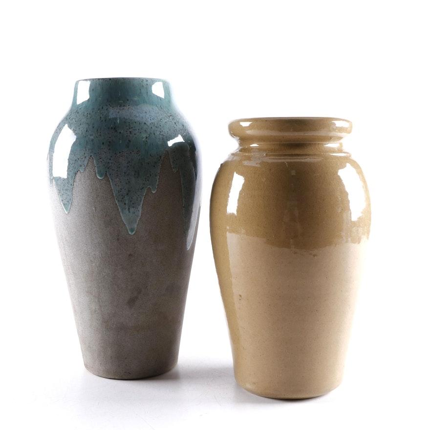 Teal Drip Glaze Gray Art Pottery Vase with Tan Art Pottery Vase