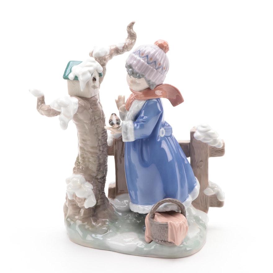 "Lladró ""Winter Frost"" Porcelain Figurine Designed by Antonio Ramos"