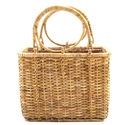 Hand Woven Two Handled Straight Side Basket