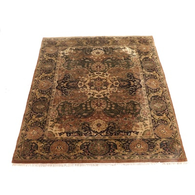 8'9 x 12'1 Hand-Knotted Indian Aura Floral Wool Rug
