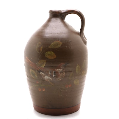 Antique Stoneware Jug with Later Hand-Painted Bird Design