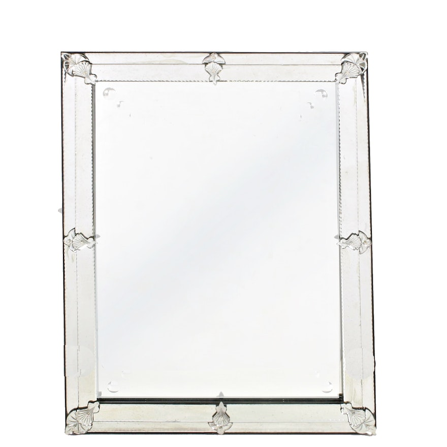Art Deco Style Beveled Glass Frame Wall Mirror, 2015