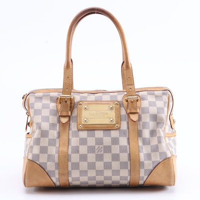Louis Vuitton Berkeley Satchel in Damier Azur Coated Canvas and Leather