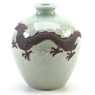 East Asian Celadon Green Dragon Vase