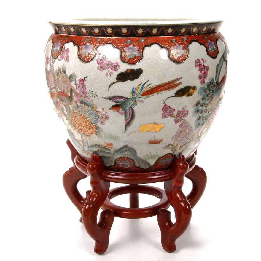 Chinese Ceramic Fish Bowl Planter with Wooden Stand, Late 20th Century
