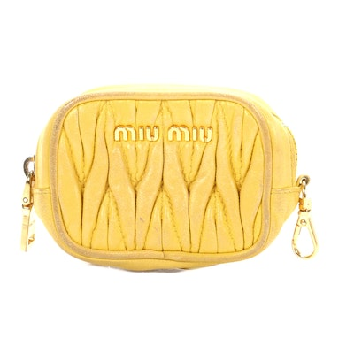 Miu Miu Coin Purse in Quilted Yellow Leather