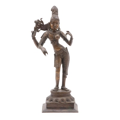 Patinated Bronze Hindu Deity Shiva Figure, Early to Mid 20th Century