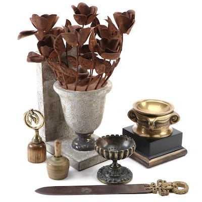 Metal Letter Opener, Bookend and Other Home Décor