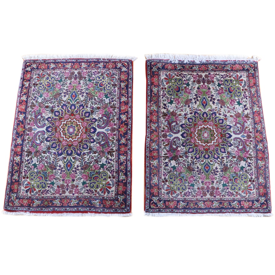 2'7 x 3'7.5 Pair of Hand-Knotted Persian Isfahan Wool Rugs