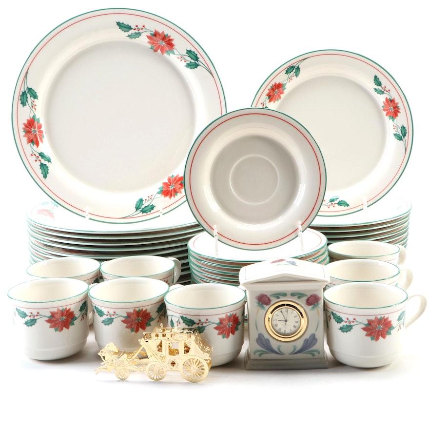 "Lenox Chinastone ""Red Poinsettias"" Dinnerware and Clock with Gorham Ornament"