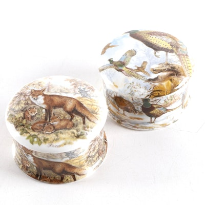Newhall Bone China Fox and Pheasant Lidded Boxes