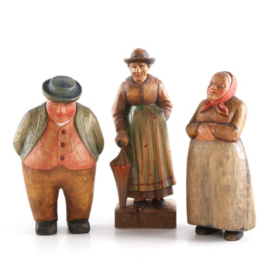 Oberammergau and Other German Polychrome Carved Wood Folk Figurines