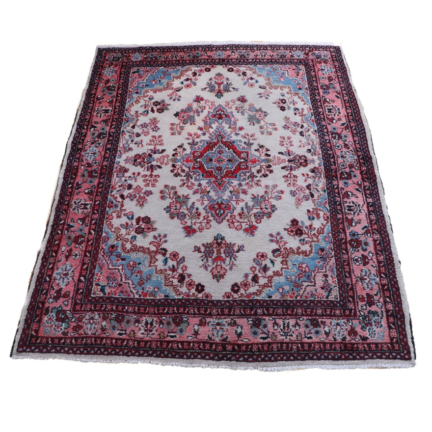 6'2.5 x 8'8 Hand-Knotted Persian Yazd Wool Rug