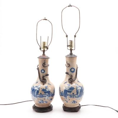 Pair of Chinese Crackle Glaze Porcelain Vase Converted Table Lamps, Republic Era
