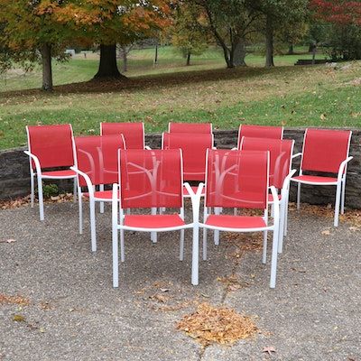 Stackable White Metal and Red Mesh Patio Chair Set