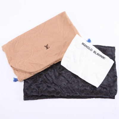 Louis Vuitton, Gucci and Manolo Blahnik Dust Bags