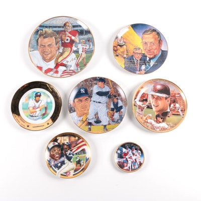 Collectible Sports Ceramic Plates Including John Wooden, Yogi Berra, Hank Aaron