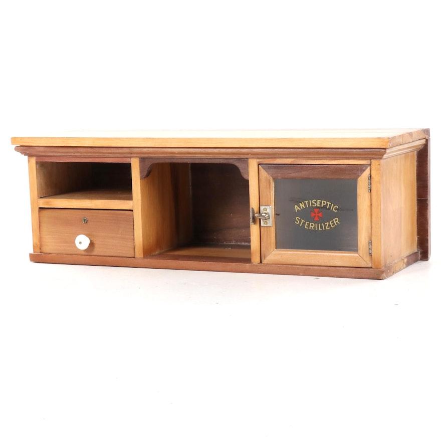 """Antiseptic Sterilizer"" Poplar Barbershop Cabinet, 20th Century"