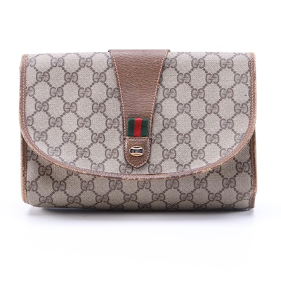 Gucci Accessory Collection GG Supreme Coated Canvas and Leather Clutch